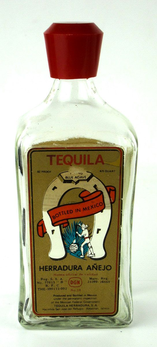 Vintage Herradura Anejo Blue Agave Glass Tequila Bottle 92 Proof 4/5 Quart Bottled in Mexico Nice Red Cap Top