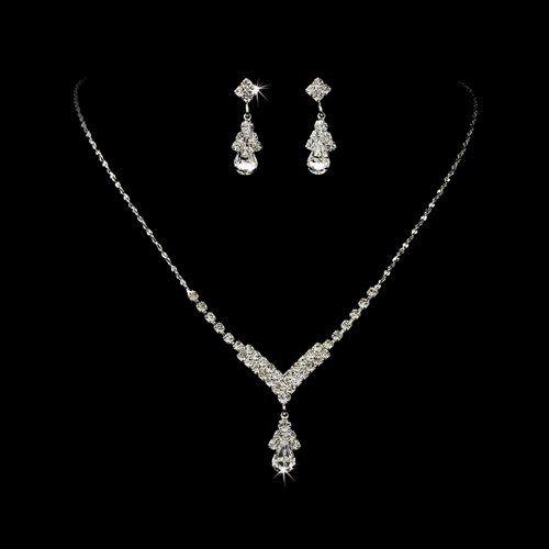 Bridal Wedding Jewelry Set Crystal Rhinestone Necklace V Teardrop Silver Clear Accessoriesforever,http://www.amazon.com/dp/B007WZUG14/ref=cm_sw_r_pi_dp_Y.rptb1E3Y80D5S9