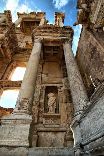 The Library of Celsus in Ephesus, Izmir, Turkey ✈✈✈ Don't miss your chance to win a Free International Roundtrip Ticket to anywhere in the world **GIVEAWAY** ✈✈✈ https://thedecisionmoment.com/free-roundtrip-tickets-giveaway/