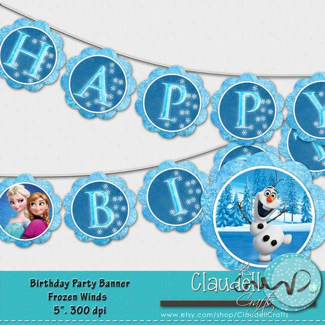 Frozen Birthday Banner Printable Frozen Banner Party By: Frozen Winds Inspired Party Birthday Printable Banner 300 DPI