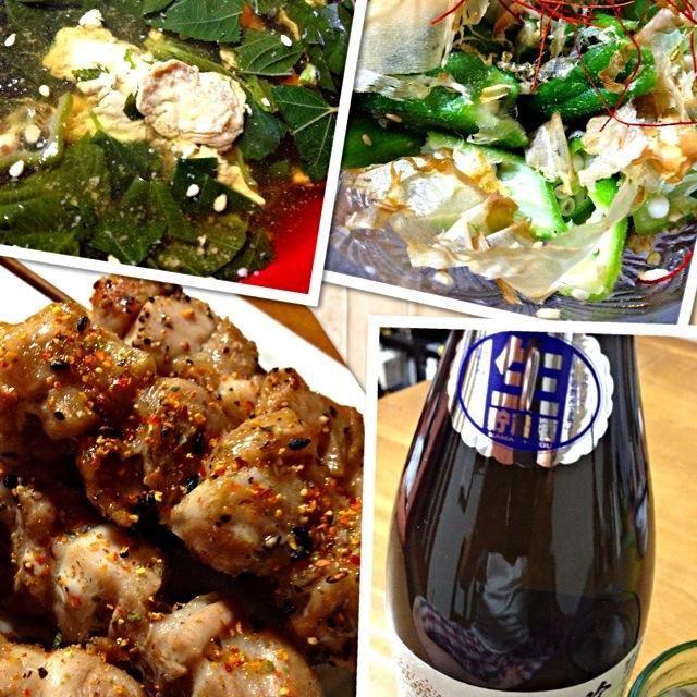久しぶりに、もも肉!!冷凍焼鳥でもヤッパリもも肉!美味しいなぁ〜!! - 63件のもぐもぐ - モロヘイヤのスープ ジャンボオクラの塩麹和えでムチン補給(笑)コストコの冷凍の焼鳥を焼き焼き&桑の都 生酒 by kamo3