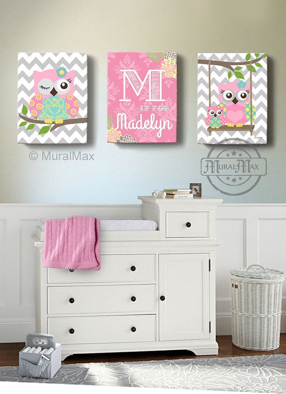 "Girls wall art - OWL canvas art, Baby Nursery  Owl Canvas Set, 10""x 12"" woodland nursery art , Owl print for nursery."