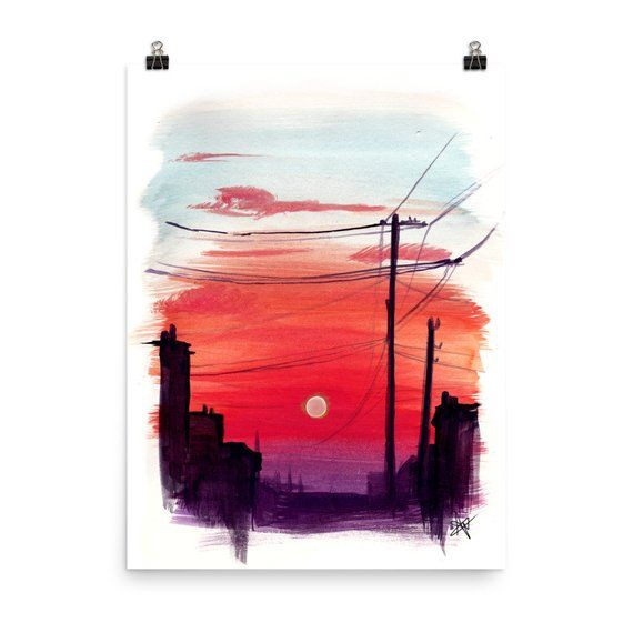 Watercolor Colorful Sunset City Street Painting Print Modern