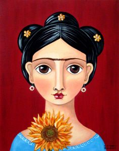 """""""Frida With Sunflower"""" by Claudia Garcia"""