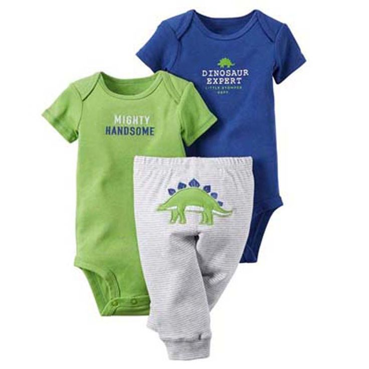 Baby boy The dinosaur design 3piece set bebe Girls Boys clothing sets ,conjuntos Clothes Baby Girls Boys Bodysuit Pant Set