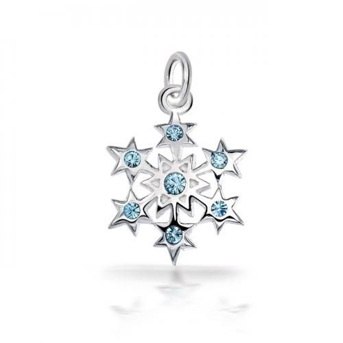 Blue Topaz Color CZ Sterling Silver Star Snowflake Charm Pendant