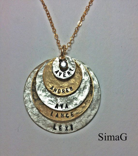 5 discs  - as Seen At THE DENVER POST and Channel 9 News - Personalized Your Charm - Two Tone Necklace --Simag