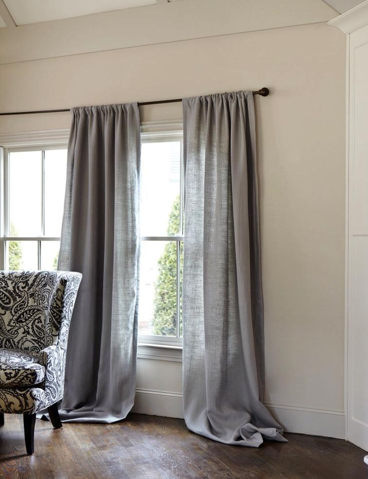 White Drapes In Living Room Part - 26: Gray Linen Curtains