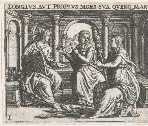 Drie vrouwen bij het spinnen, Theodor de Bry, after Jean Jacques Boissard, 1596 - Rijksmuseum