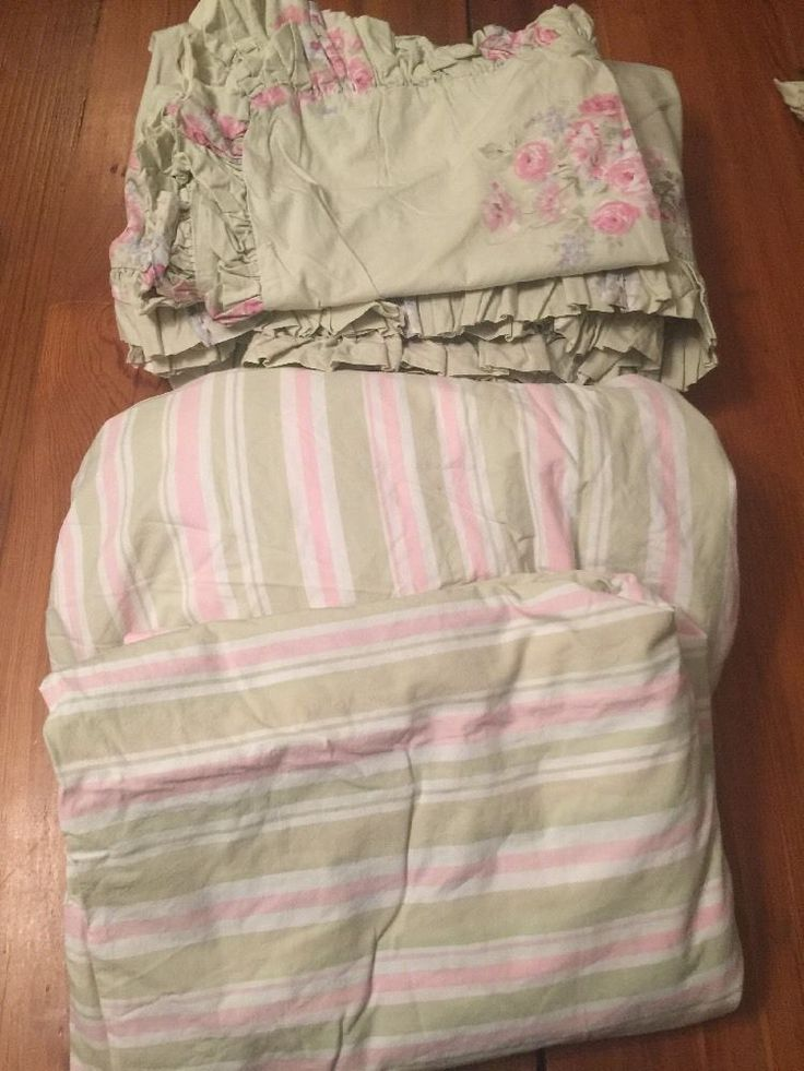 Simply Shabby Chic FLORAL Twin Duvet & Sham + PINK GREEN STRIPED Twin Sheets #SimplyShabbyChic #Cottage
