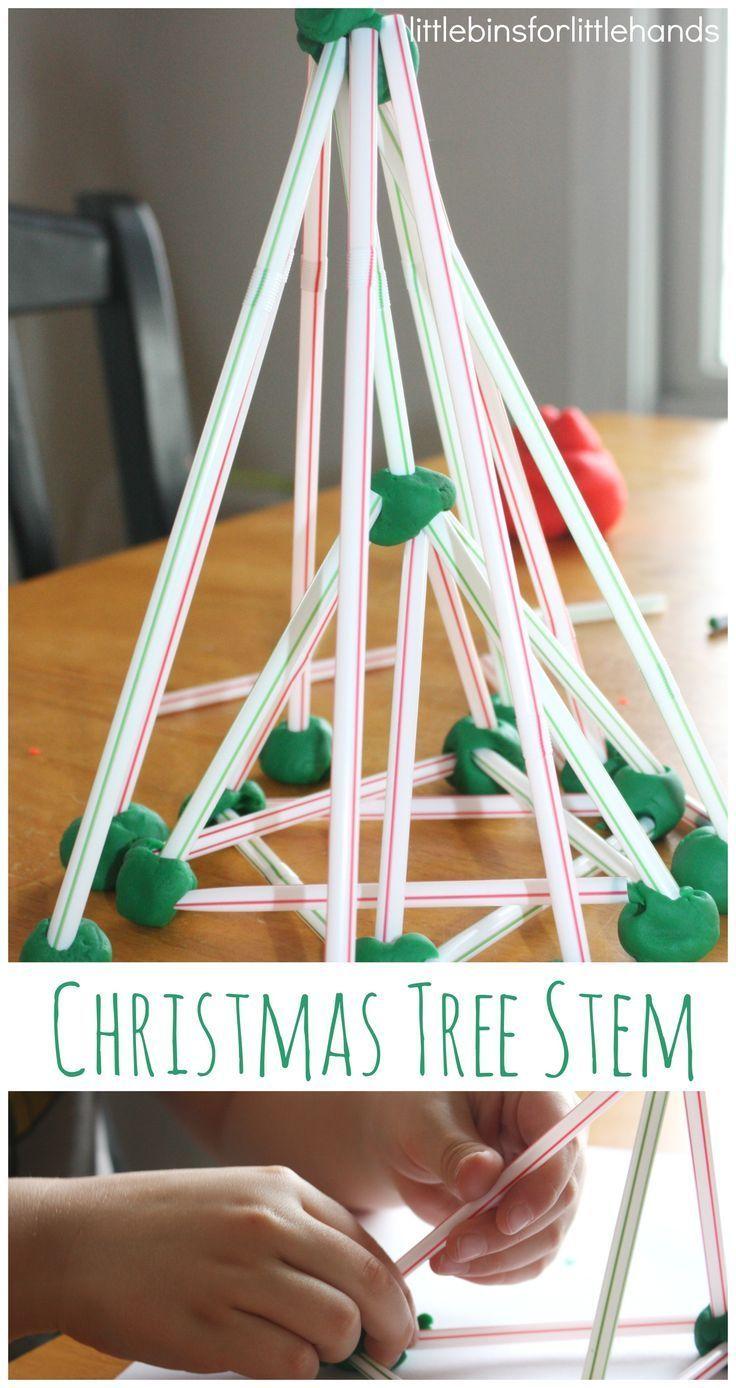 Christmas Tree Stem Play Dough and Straws Christmas tree building Project.