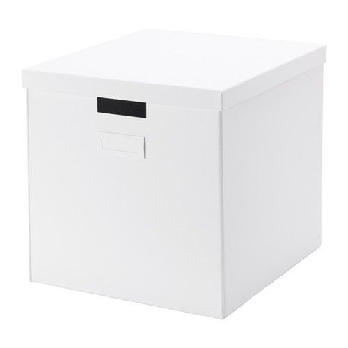 TJENA Box with lid, white white 12 ½x13 ¾x12 ½  Storage boxes for top of closet