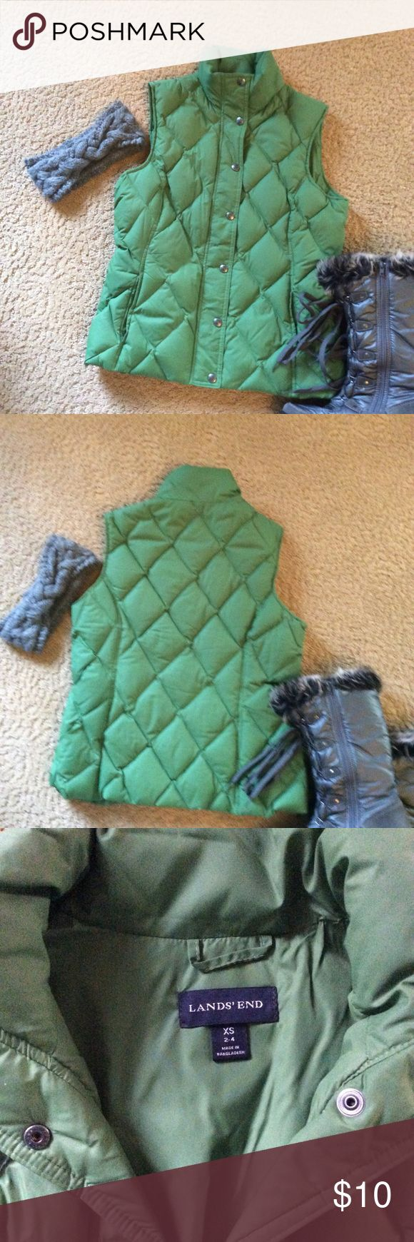 Lands End Down Vest Puffy Vest by Lands End. Snap closure, pockets, nylon shell and lining. Fill is 80% down,20% feathers. EUC $10. Until 2PM Lands' End Jackets & Coats Vests