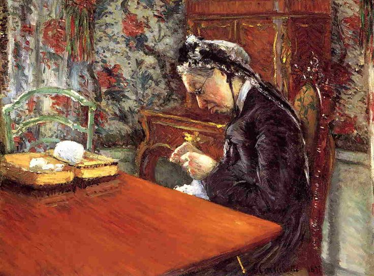 Portrait of Mademoiselle Boissiere Knitting, 1877- Gustave Caillebotte -