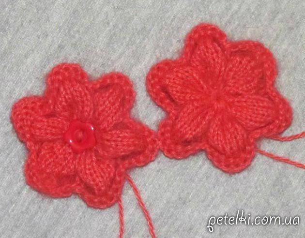 Объемные цветы спицами. Мастеркласс вязания