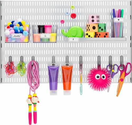 18 best images about elfa craft room storage on pinterest for Craft wall storage system