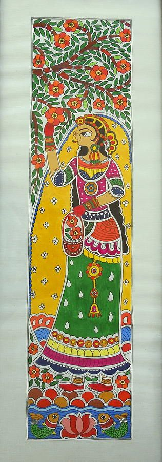 Garden Beauty Plucking Flowers- Madhubani Painting Painting
