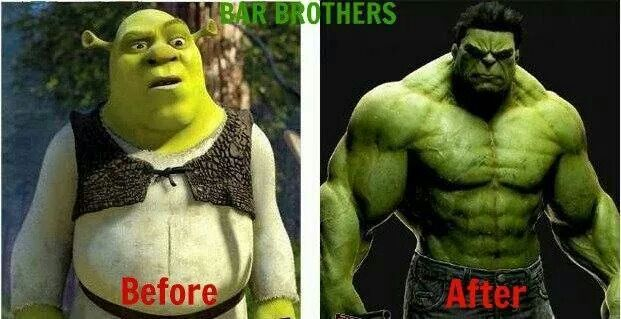 Shrek before and after completing his New Years resolutions. How are you doing with your goals? #wellnesswednesday