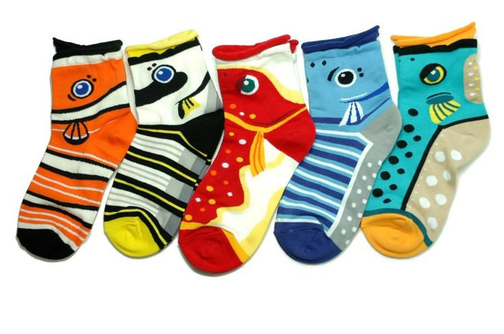 Fish Animal Character Socks 5 Pairs Color Unisex Women Kid Roll Up Novelty Funny #GGORANGNAE #Casual  #CharacterSocks #women #Kid #Girl #Lady #Funny #Novelty #Pattern