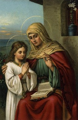 St. Anne and Mary the Blessed Virgin, her daughter. St. Anne taught Mary how to read.
