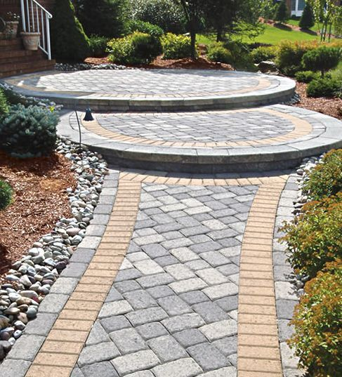 Front Walkway Ideas | Double Circle Stepped Front Walkway