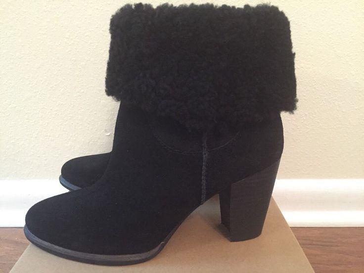 UGG Australia Women's Charlee Heel Booties Black Suede Size 8 Style 1008765  | eBay