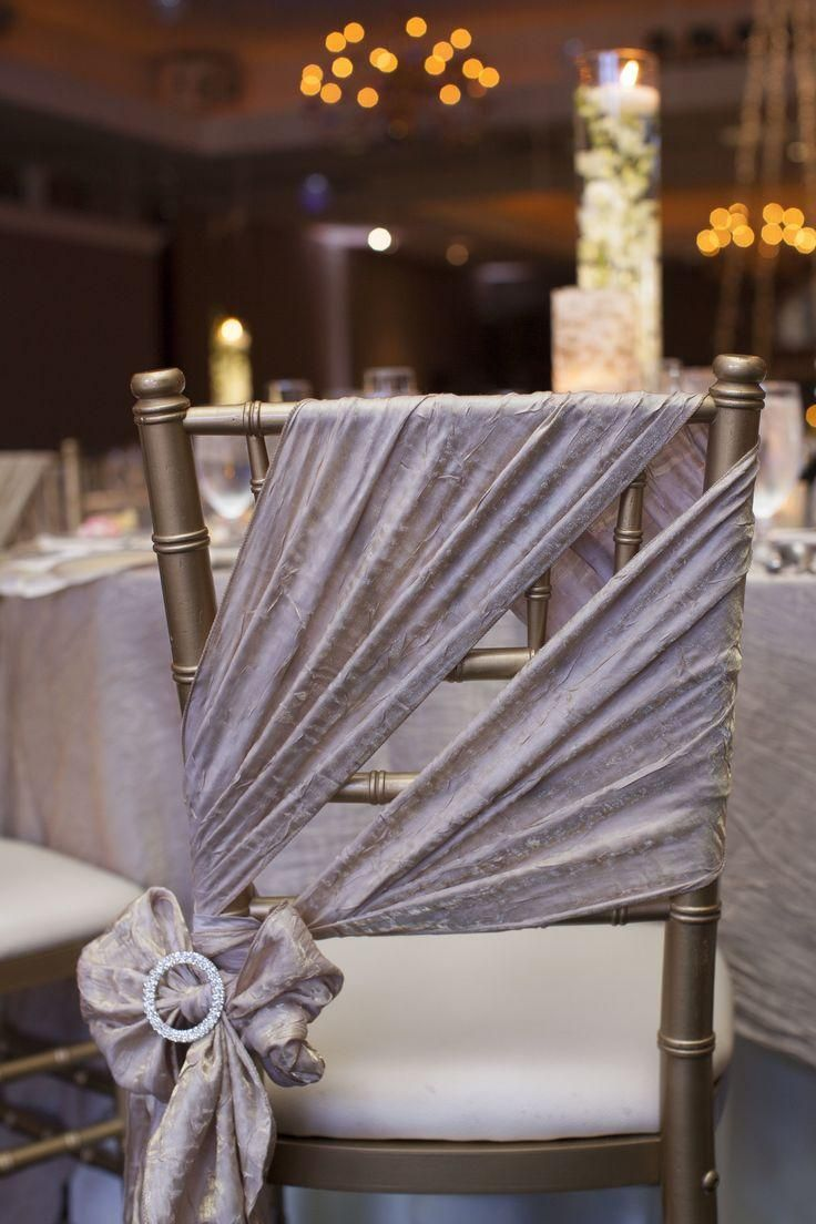 Venues decor wedding pinterest chair sashes for Decorating chairs for wedding reception