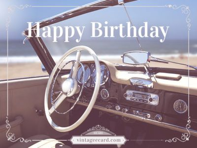 Vintage Car Steering Wheel and Blue Ocean