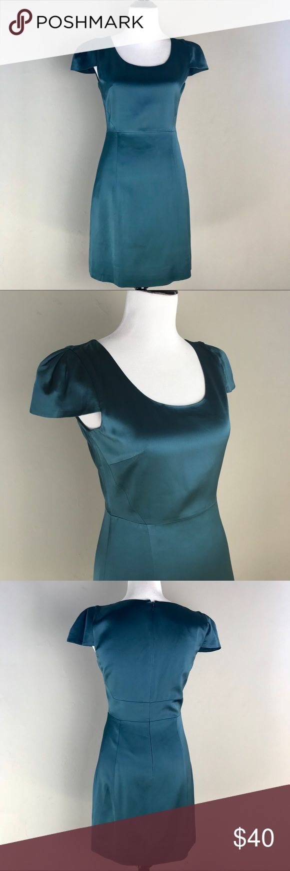 """•anthro• 4 collective Stretch Satin Dress EUC, hardly worn. 4C from Anthropologie. Beautiful teal stretch satin. Rounded neck with cap sleeves. Size 6, measurements: Armpit to armpit: 17"""" Waist: 14.5"""" Length: 34.5""""  🚭smoke and pet free🏡 Anthropologie Dresses"""