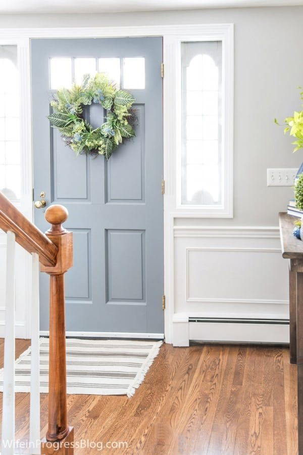 Tips Inspiration And Practical Advice For Decorating Your Small Entryway This Spring These Spring H In 2020 Painted Front Doors Blue Interior Doors Inside Front Doors
