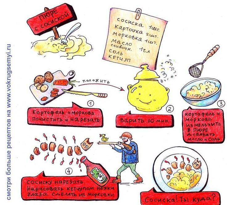 Вкусняшки-рисовашки: Картошка с сосисками
