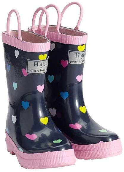 Hatley Navy Pink Multi Hearts rain boots are very durable in construction and designed for jumping into puddles.  Made from pure rubber, the handles on these boots make it easy for children to pull the boots on and off.  The super soft lining will keep kids' feet warm and dry.