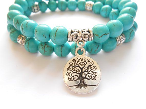 Tree of Life jewelry Yoga Mala Bracelet Turquoise Healing Protection Elastic Beaded Stacking Bracelet Spiritual jewelry Mother's Day gift $32.95