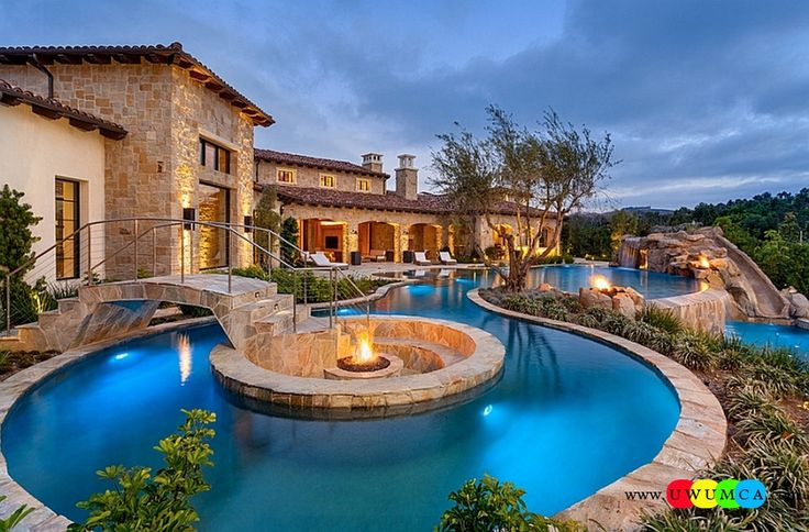 Outdoor / Gardening:Fire Pit At The Heart Of The Pool With Create Outdoor Lounge With Sunken Seating Area Ideas Build Conversation Pits Sunken Sitting Areas In Pool Garden Outside Decor Around It And A Beautiful Bridge Leading The Way Elevate The Style Quotient Of Your Outdoor Lounge With Sunken Seating Area