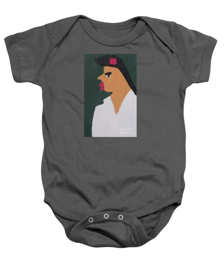 Patrick Baby Onesie featuring the painting Portrait Of A Woman With Red Ribbon 2014 - After Vincent Van Gogh by Patrick Francis