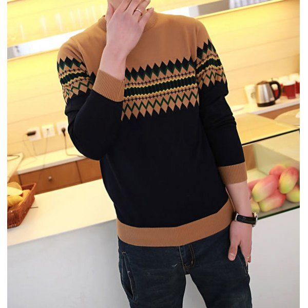 Fashion Slimming Round Neck Argyle Jacquard Long Sleeves Cotton Blend Sweater For Men, CAMEL, M in Cardigans & Sweaters | DressLily.com