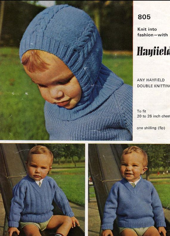 BABY KNITTING PATTERN - Helmet and 2 Sweaters - 20 - 26 inch chest on Etsy, $1.74