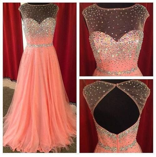 Sexy Scoop Neck See Through Coral Prom Dresses 2014 New Arrival GirlS Party Evening Gowns Real Sample 100% quality Guarantee -in Prom Dresse...