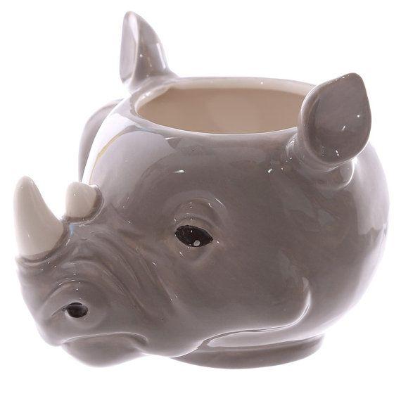 Coffee Mug Novelty Rhino Head Shaped Ceramic Cup by getgiftideas
