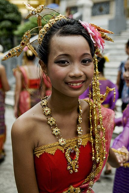 Little girl in traditional dress, Bangkok
