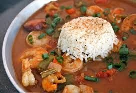 Chicken (Shrimp) Andouille Sausage Gumbo INGREDIENTS 2 lbs chicken or shrimp 2 quarts water 1 pound okra, 1-inch slices  1/2 c water (to cook the okra) 1/2 c unsalted butter 1/2 c flour 1 1/2 c yellow onion, diced 1 1/2 c bell pepper, diced 1/3 c celery, diced 2 cloves garlic, minced 2 c diced canned tomatoes (about 16 ounces) 12 oz Andouille sausage cooked, sliced 1 bay leaf, dried 1 tsp thyme, dried 1 tsp basil, dried 1 tsp cayenne pepper, or chili pepper  1/2 tsp black pepper 1 tsp salt