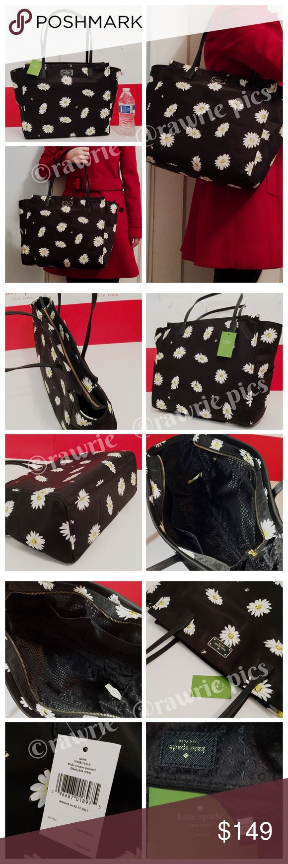 """New Kate Spade black daisy bees large nylon tote 100% authentic. Daisy and bees print on black nylon with vinyl trim. Zip top closure and fabric lining. Inside zip and slip pockets. Handle drops 8.5"""". Measures 13""""-18"""" (L) x 12"""" (H) x 5.5"""" (W). Brand new with tag. Comes from a pet and smoke free home. kate spade Bags Totes"""