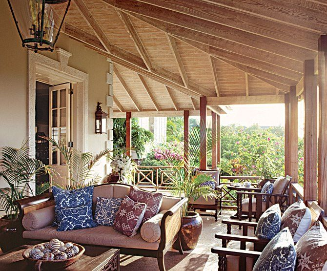 British Colonial Style: In order to combat the hot and humid weather, people used certain architectural features to keep cool. Wide verandas allowed them to stay out in the breeze without being in the sun, high ceilings kept the warmer air above seating height, and the wicker and rattan details in their seating provided ventilation.