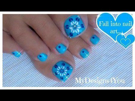 Easiest Toenail Art Design | Blue Floral Pedicure #bluenails #TUTORIAL #nailart - bellashoot.com