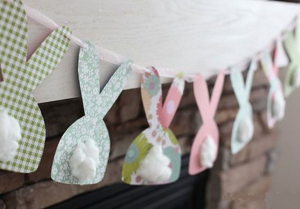 Click Pic for 25 DIY Easter Decorations for the Home - Bunny Garland - Easter Table Decorations