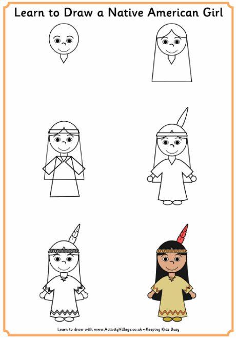 Learn to draw a Native American girl/boy, and Pilgrim girl/boy