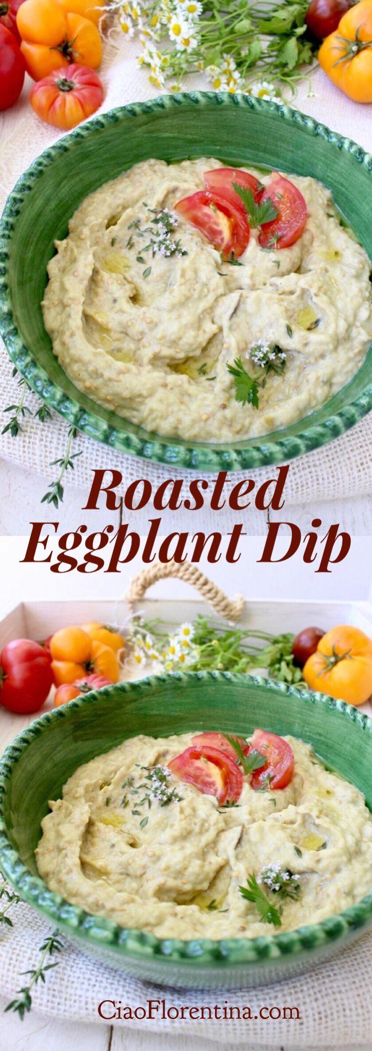 Roasted Eggplant Dip Recipe  , ( European style without tahini ) | CiaoFlorentina.com @CiaoFlorentina