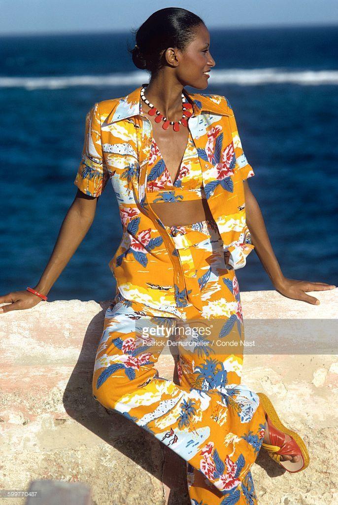 News Photo : Model Beverly Johnson on beach wearing an orange...