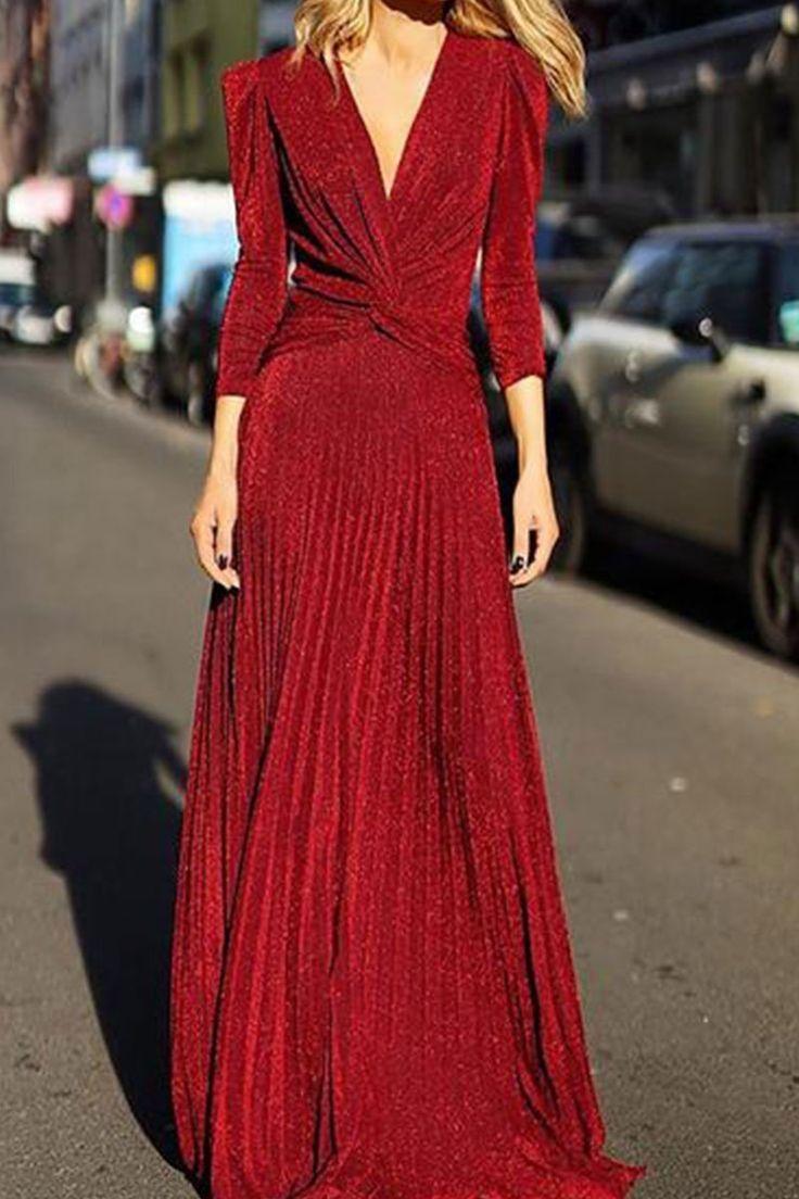 fashion v neck long sleeved maxi evening dress   vestidos