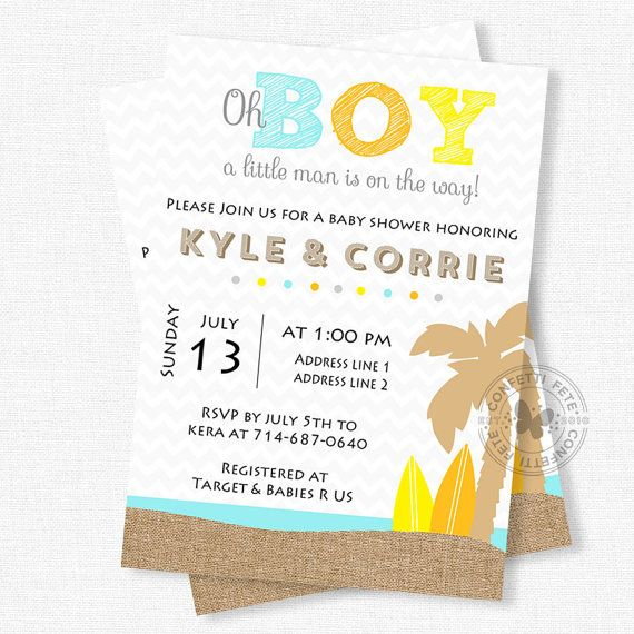 baby shower invitation beach baby shower invitation little man shower